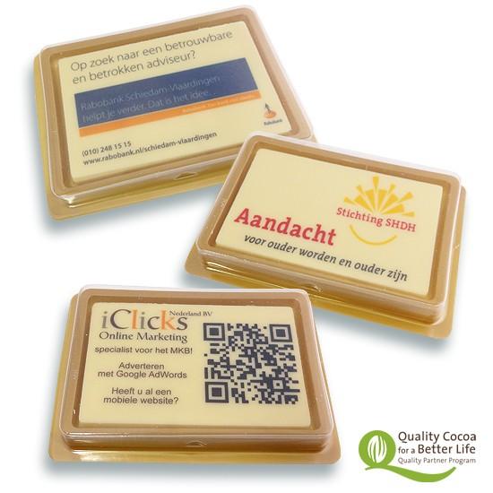 Visitekaartje op chocotablet
