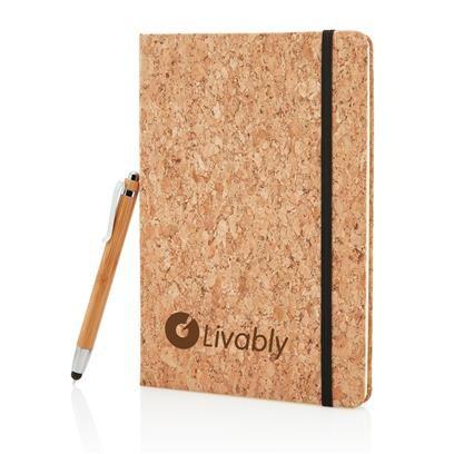 Kurken notitieboekje A5 + touchscreen pen