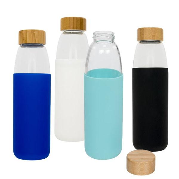 Glazen drinkfles met houten draaidop 540 ml