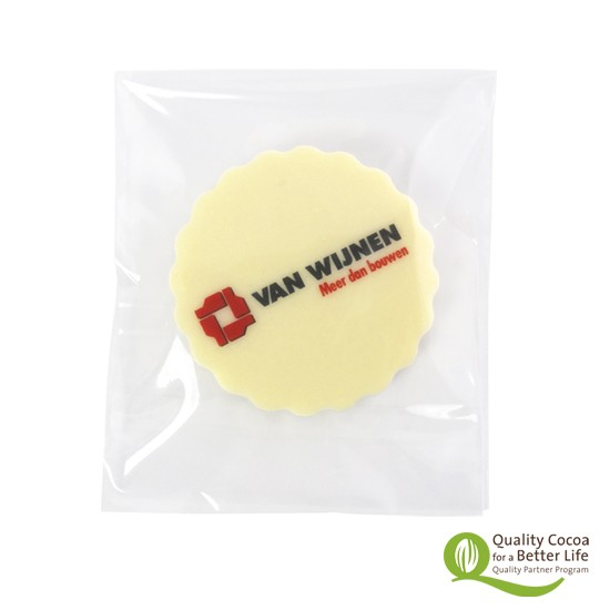 Logo ronde chocokartel in envelopzakje