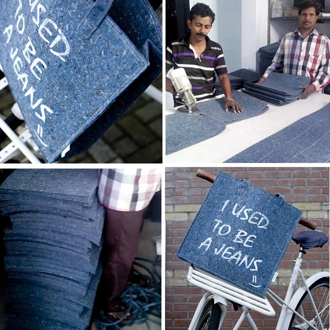 Gebruikte Jeans worden vermalen tot een nieuw stevig materiaal waarmee een schoudertas wordt gemaakt in India